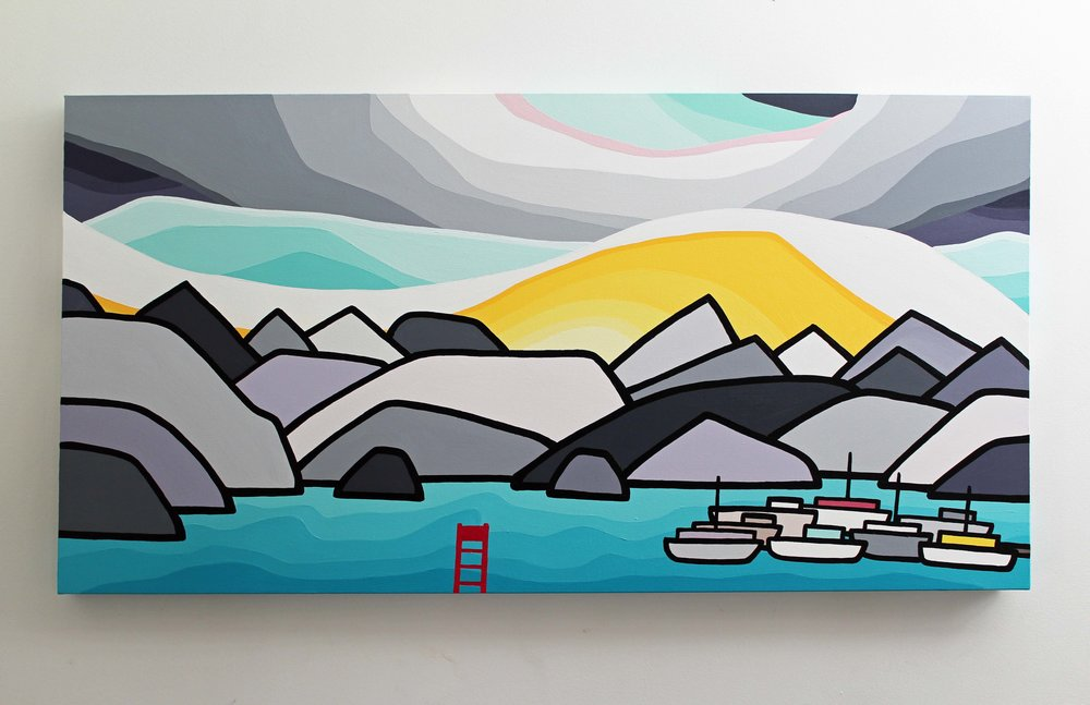 "Title: Deep Cove -  SOLD   Size: 24"" x 48"" acrylic on canvas  Price: $900 shipping available"