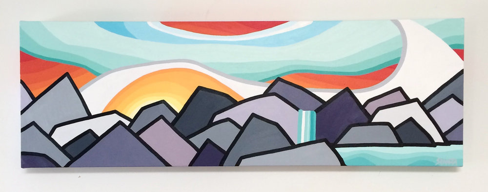 "Title: Chasing Waterfalls  - SOLD  Size: 12"" x 36"" acrylic on canvas  Price: $400 shipping available"