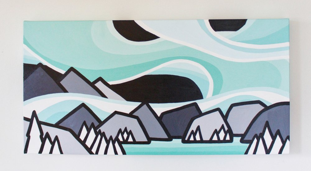"Aurora Nights - Size: 12"" x 24"" acrylic on canvasPrice: SOLD"