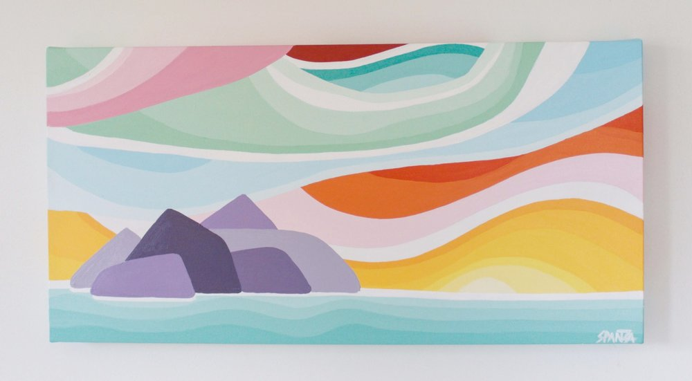 "Island Sunset - Size: 12"" x 24"" acrylic on canvasPrice: $350 shipping available"