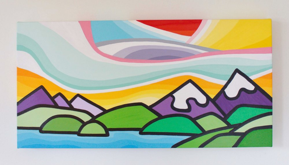 "Mountain Love - Size: 12"" x 24"" acrylic on canvasPrice: $350 shipping available"