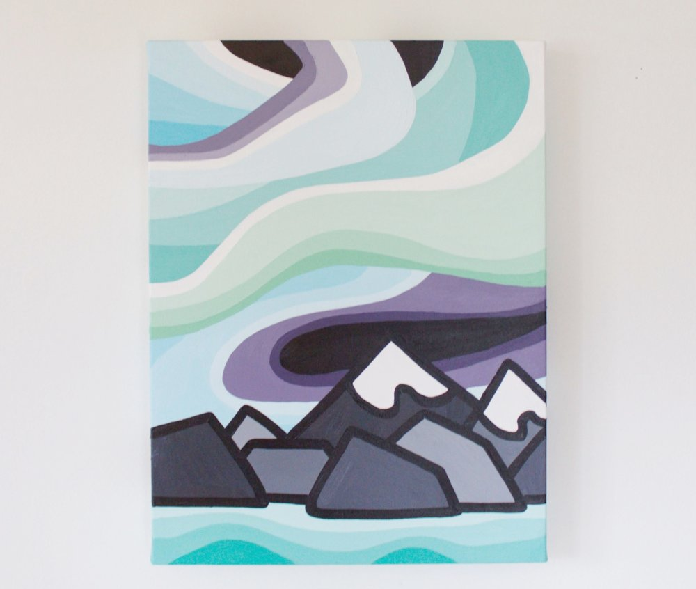 "Night in the Mountains - Size: 16"" x 12"" acrylic on canvasPrice: SOLD!!"
