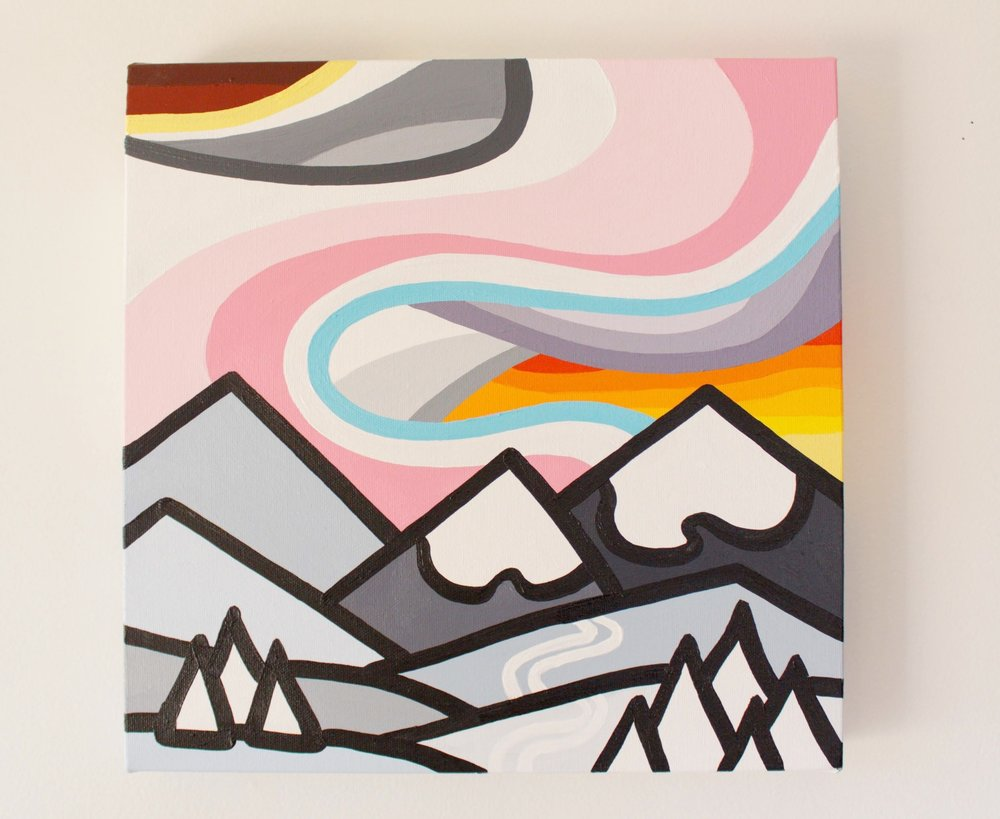 "Fresh Tracks on the Hill - Size: 12"" x 12"" acrylic on canvasPrice: SOLD"