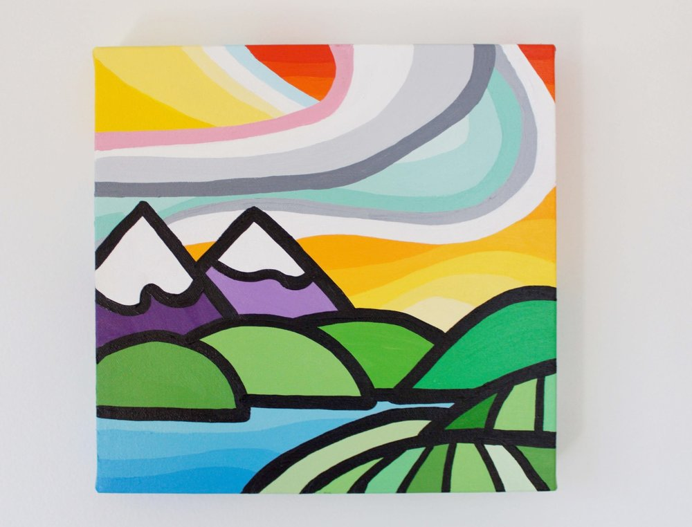 "Vineyards and Mountains - Size: 10"" x 10"" acrylic on canvasPrice: SOLD"