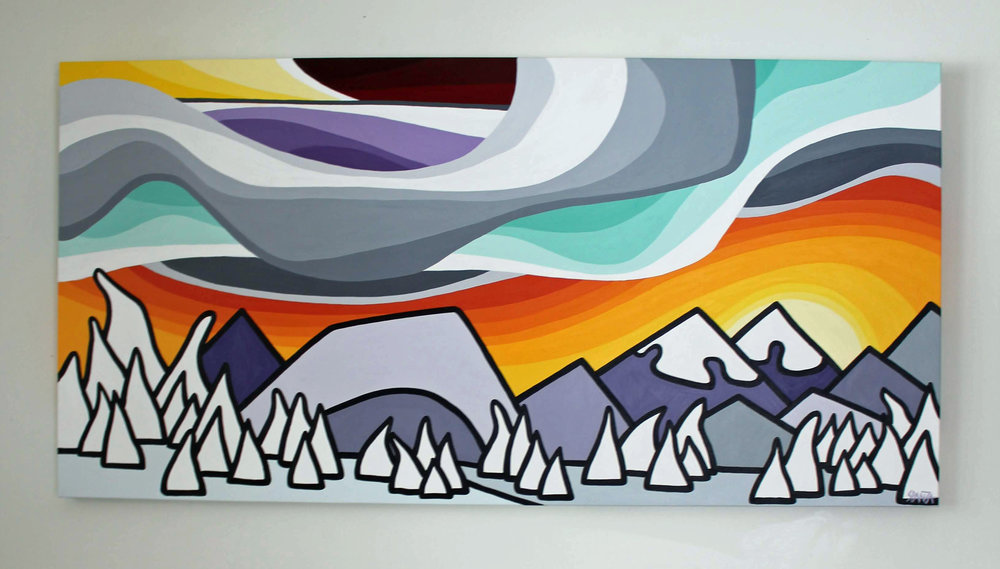 "Afternoon Snowghosts - Size: 24"" x 48"" acrylic on canvasPrice: $900 shipping available"