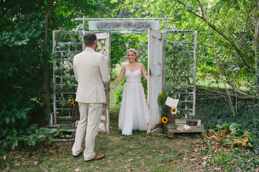 diy first look wedding door