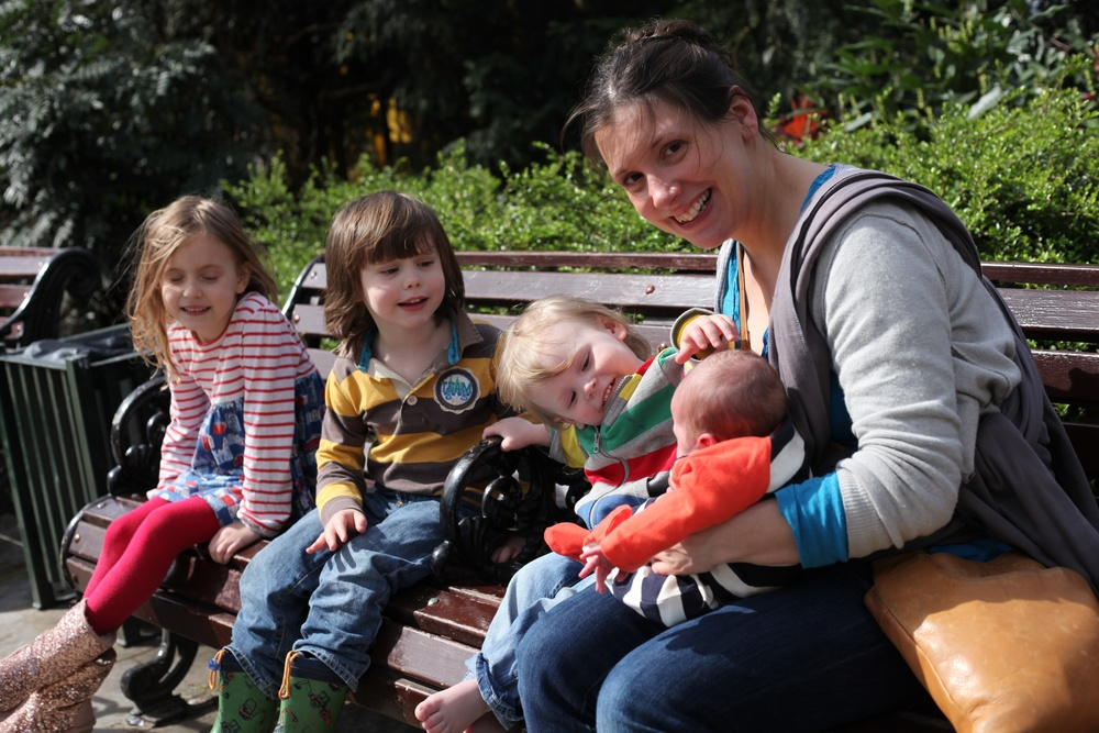 Happy mother of four, taken by Stef a week after Rudi was born.