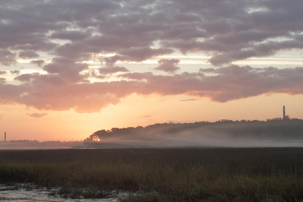 Swirling fog in the rising sun.    .