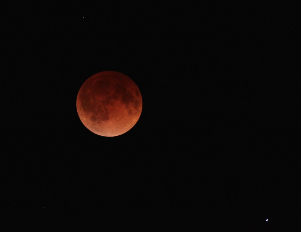 Blood Moon photo taken over Brillion Wisconsin 15 April 2014, Copy by Photographer David Andre with permission.