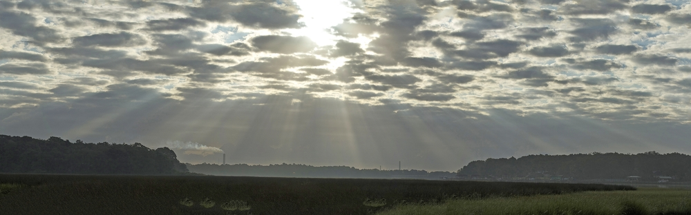 Corpuscular Rays from the morning sun..the show is about to begin..
