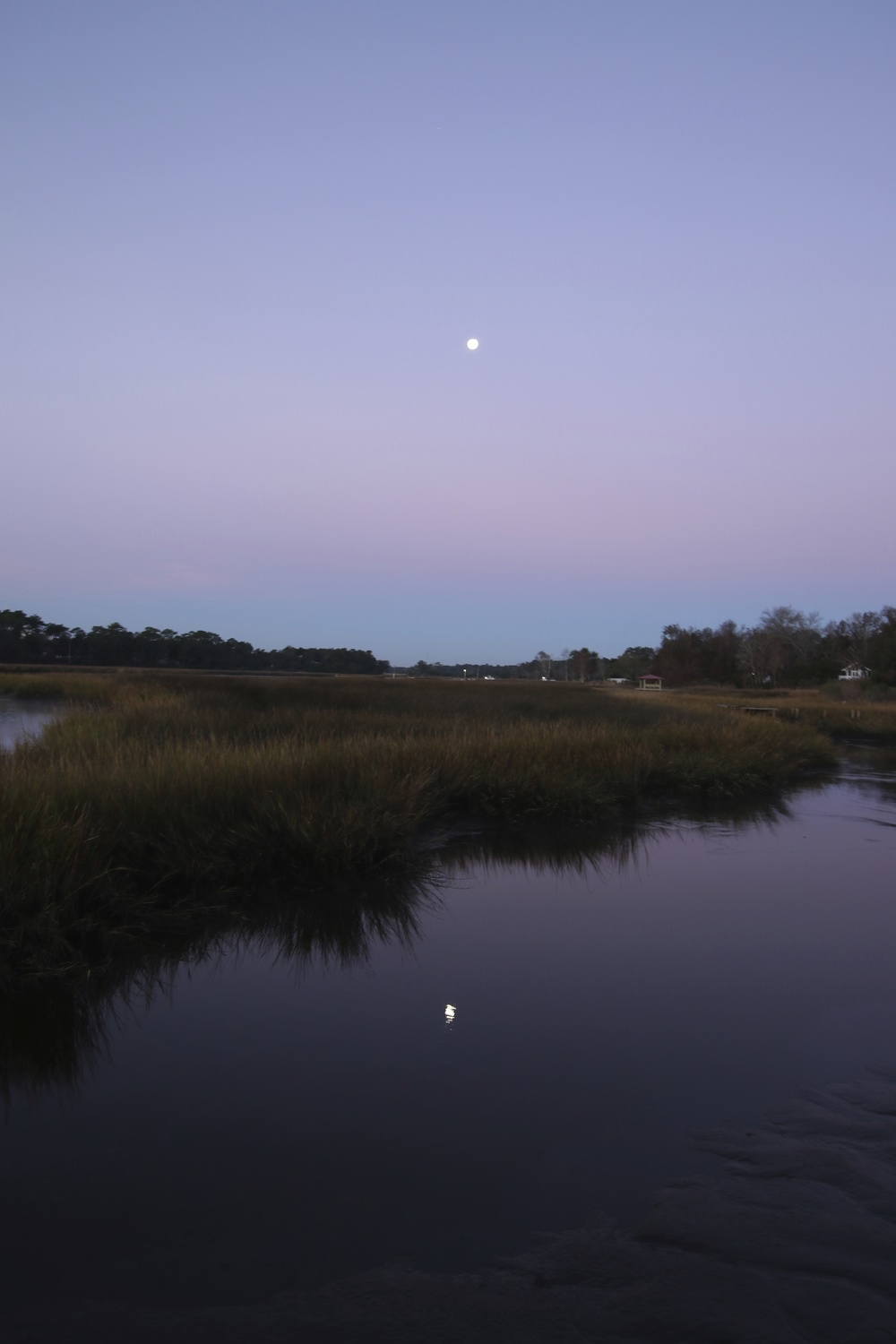 """BLUE HOUR"" PREDAWN PHOTO OF MOONSET ON THE BROWARD"