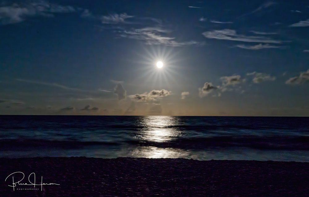 Moonburst over the ocean