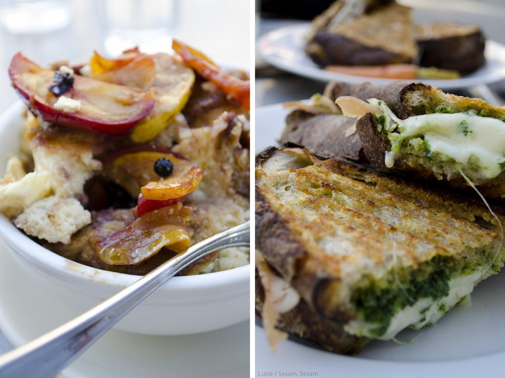 Tartine Bakery. Dejlig smørstegt sandwich og deres famøse Bead Pudding med æbler, solbær og kanel.