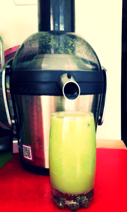 My juicer at home. Spinach, cucumber, ginger, lemon & parsley. Yum!