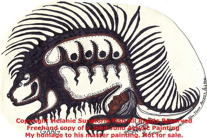 """Gaag"" Sharpie on Sketchpaper  (Not For Sale) Homage to John Juno's original Painting entitled ""Porcupine"""