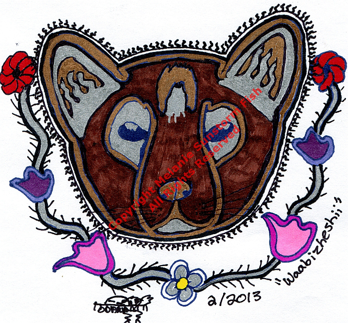 """Waabazheshii"" (Martin as in Pine Marten) Sharpie on Sketchpaper, Part of The Dodemak Series. Copyright Melanie Sunstorm Fish All Rights Reserved"