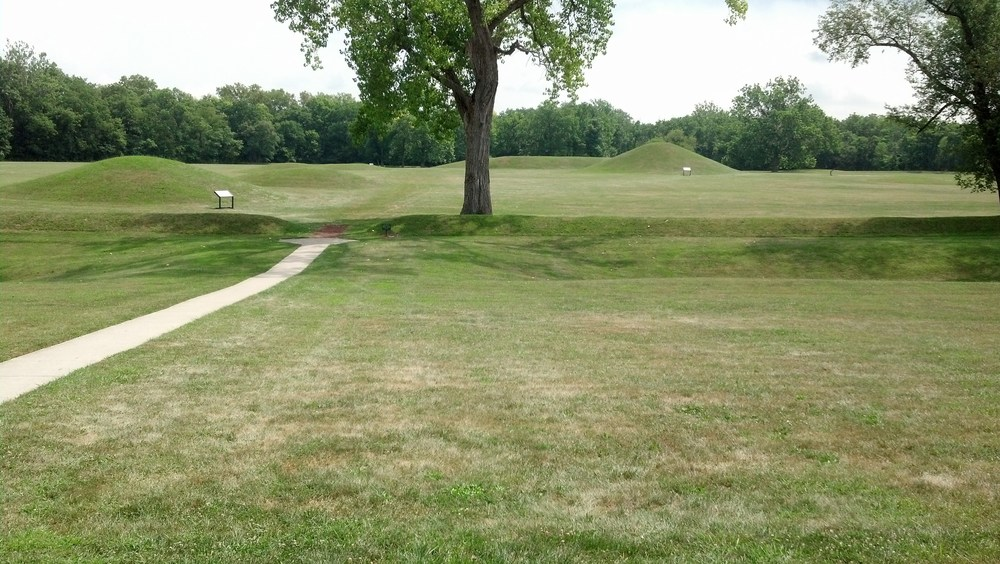 This is the Mound City mounds which were built over by Camp Sherman and reconstructed later from sketches