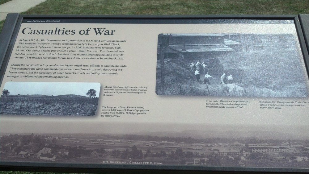 at the bottom of this sign is a black and white photo of Camp Sherman erected  exactly over the Mound City site.