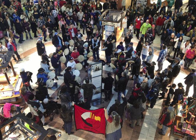 Idle No More Flashmob Rivertown Crossings Mall Grandville, Michigan December 23, 2012