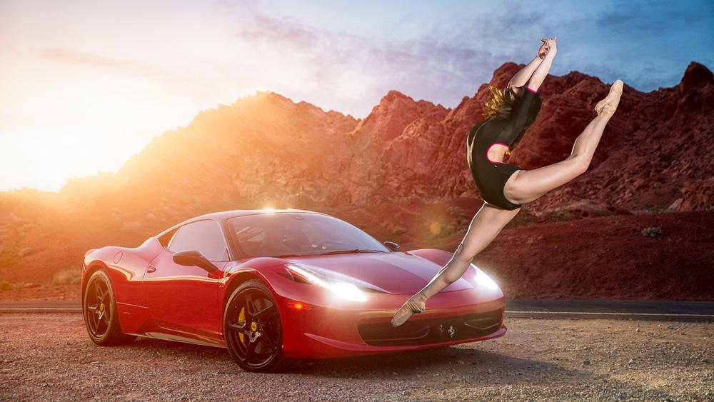 A Ballerina Leaping Over the Ferrari 458 Italia - Illuminated by the new Broncolor Siros 800 L monolight.