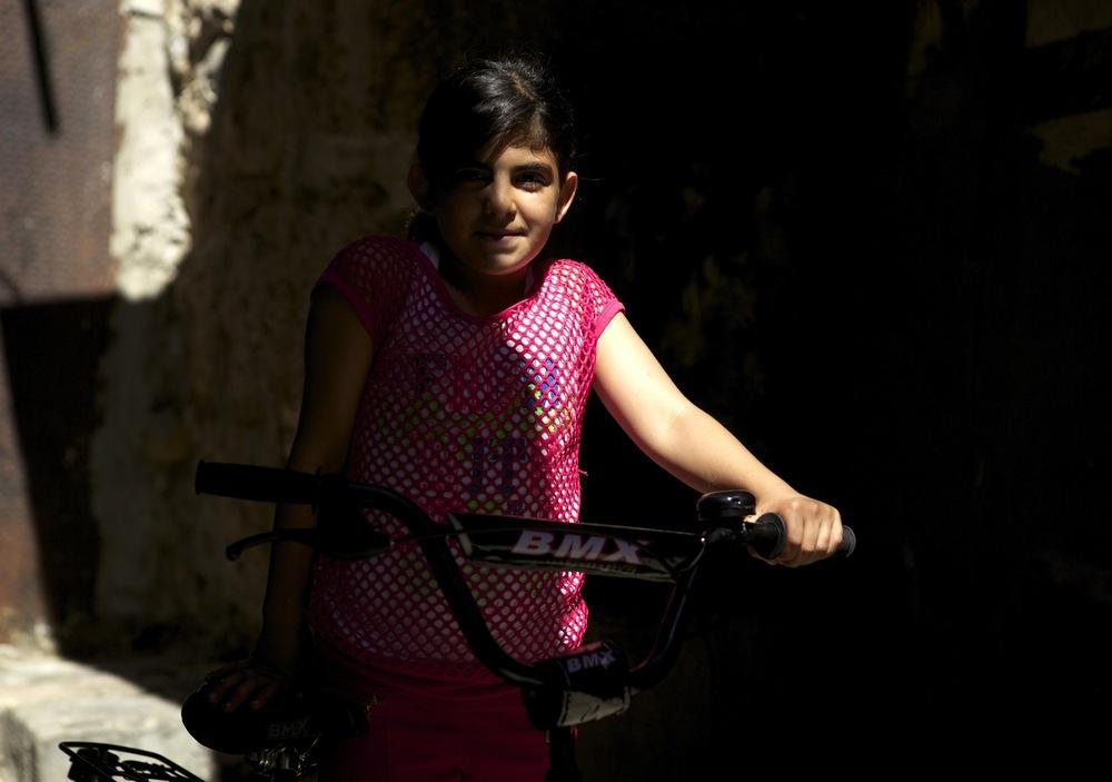 Portrait of a girl in the Muslim Quarter of Jerusalem, Israel.