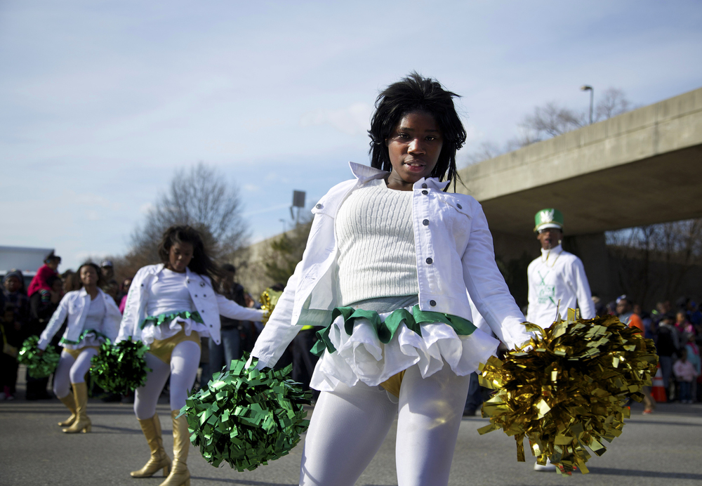 The Baltimore Twilighters Marching Band performs during the Dr. Martin Luther King, Jr. Parade in Baltimore, Maryland.