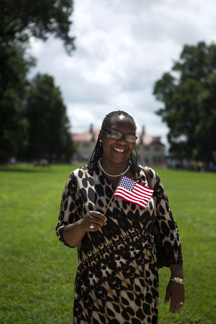 Portrait of a woman who became a U.S. Citizen during the Independence Day Naturalization Ceremony at Mount Vernon, Virginia.