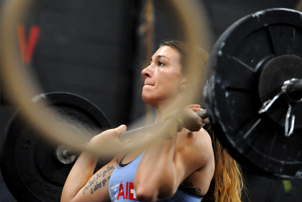 Chelsea Young of Frederick, Maryland lifts weights at CrossFit ReVamped in Columbia, Maryland on Tuesday, June 14, 2016.