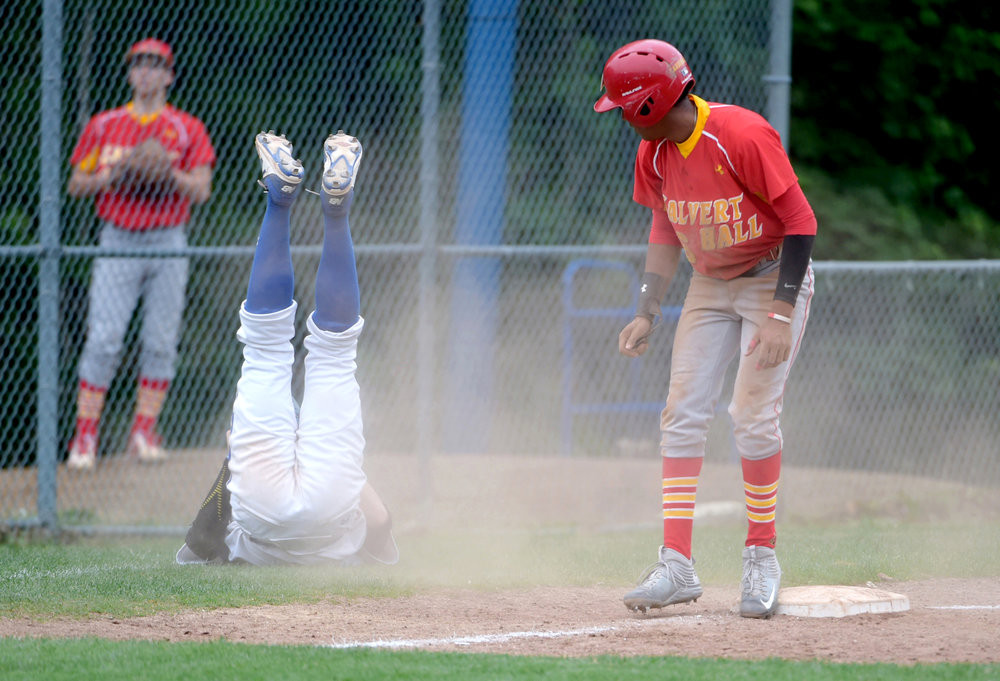 Jose Torres, #16, of Calvert Hall College High School, runs to third base and is safe during the sixth inning. Calvert Hall beat the home team, Loyola Blakefield, 13-0, in Towson, Maryland on Monday, May 1, 2017.