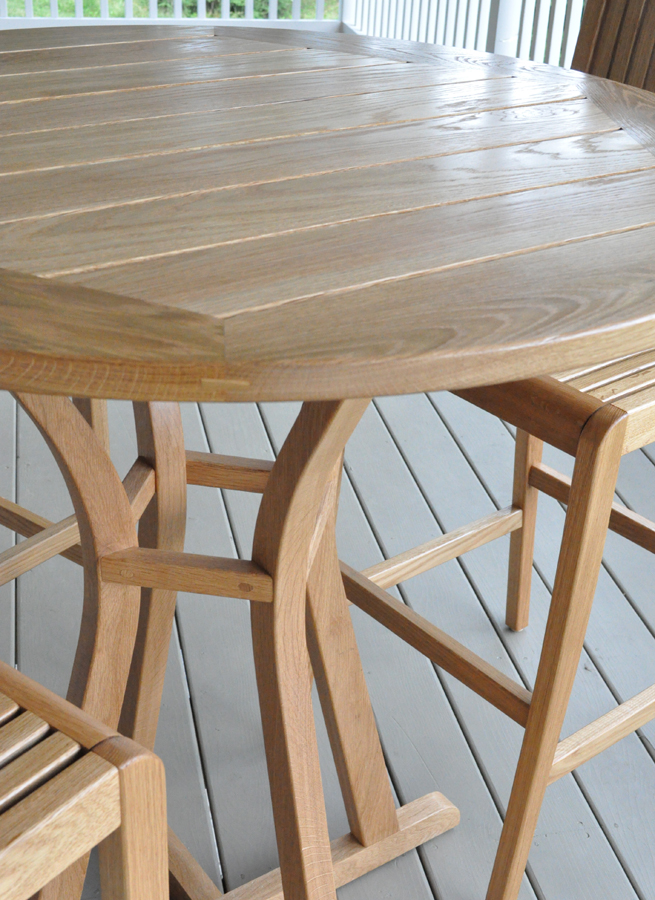 White Oak Bistro Table and Chairs