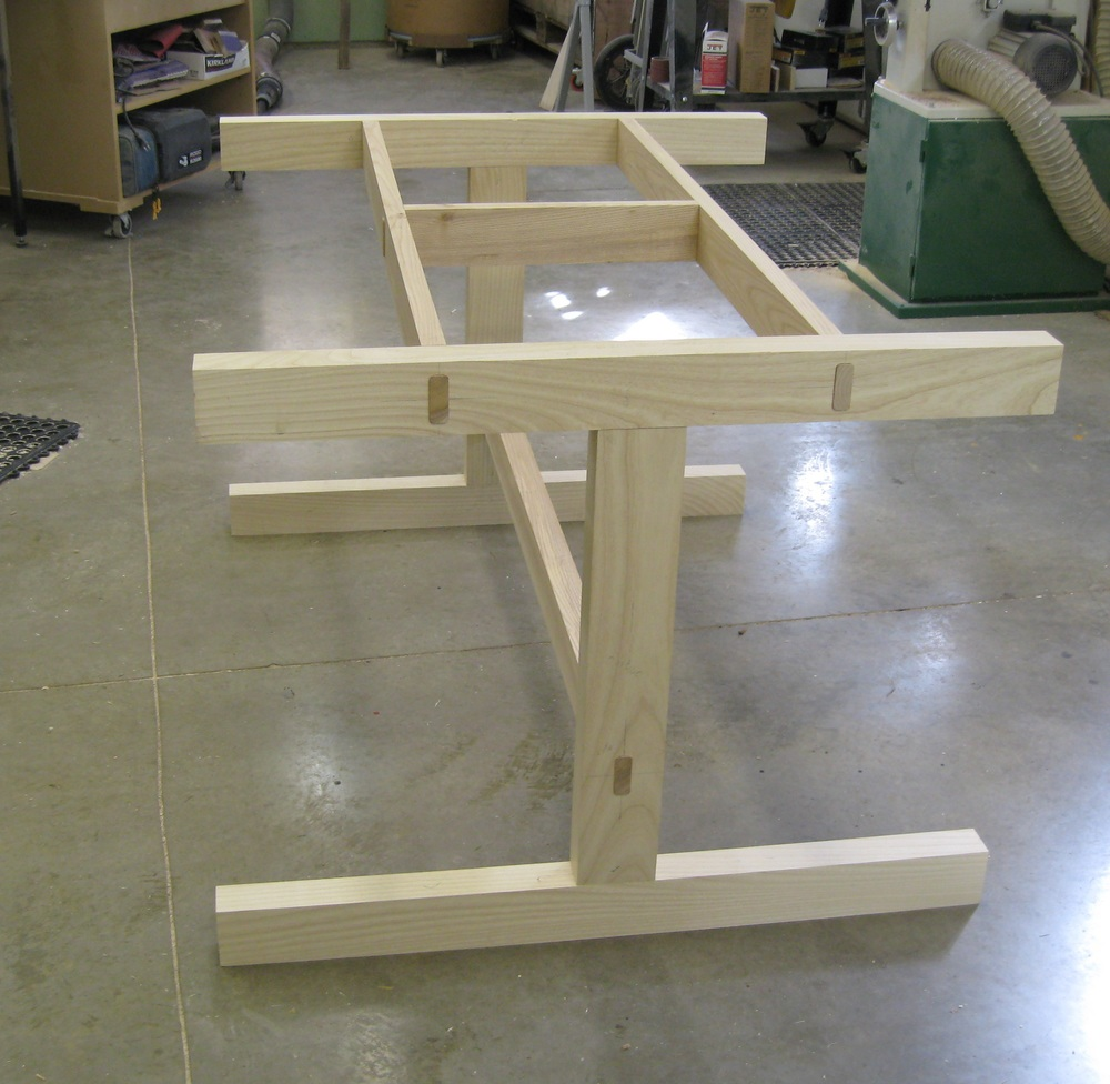 Initial dry fit on Nick's table base; joinery is cut - time to start shaping the parts.