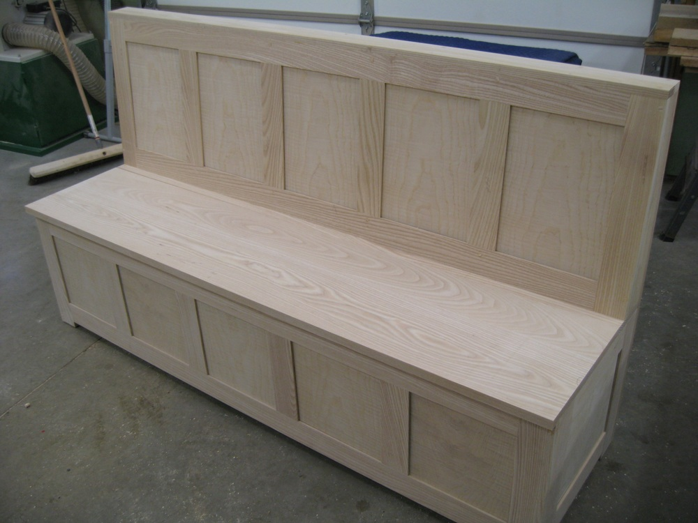 Long storage bench awaiting it's turn in the finish room.
