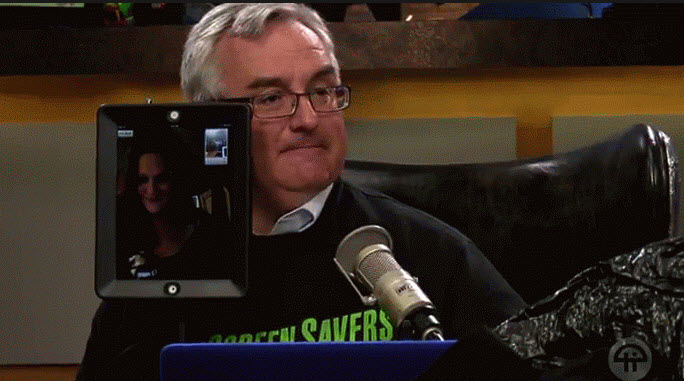 How lucky am I? I got to take a ride around the TWiT Brickhouse today as a rock-em sock-em robot.    http://live.twit.tv/
