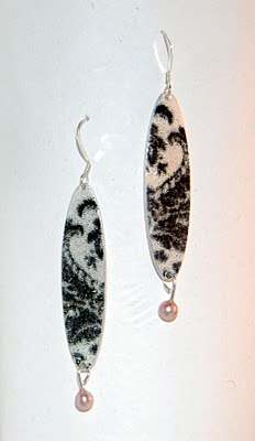 silver and enamel earrings patsy kay kolesar