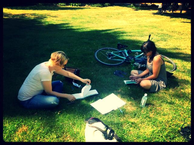 First sketching meeting in a Strathcona park near our studios.