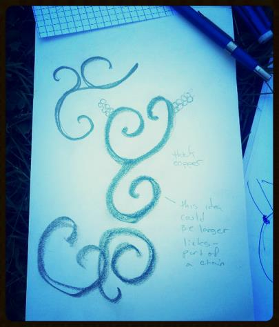 Su brought this swirl shape idea to our first sketching meeting....Simone and I both loved it and it started sparking all kinds of new ideas.