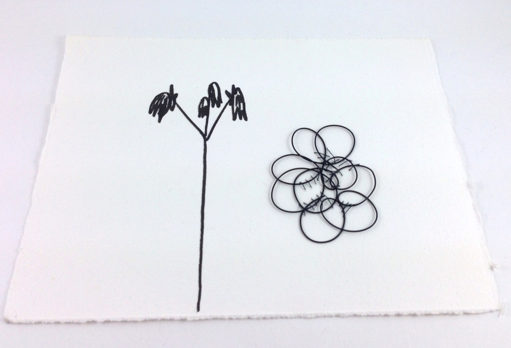 Stitched Wire Sketch and Flower.jpg