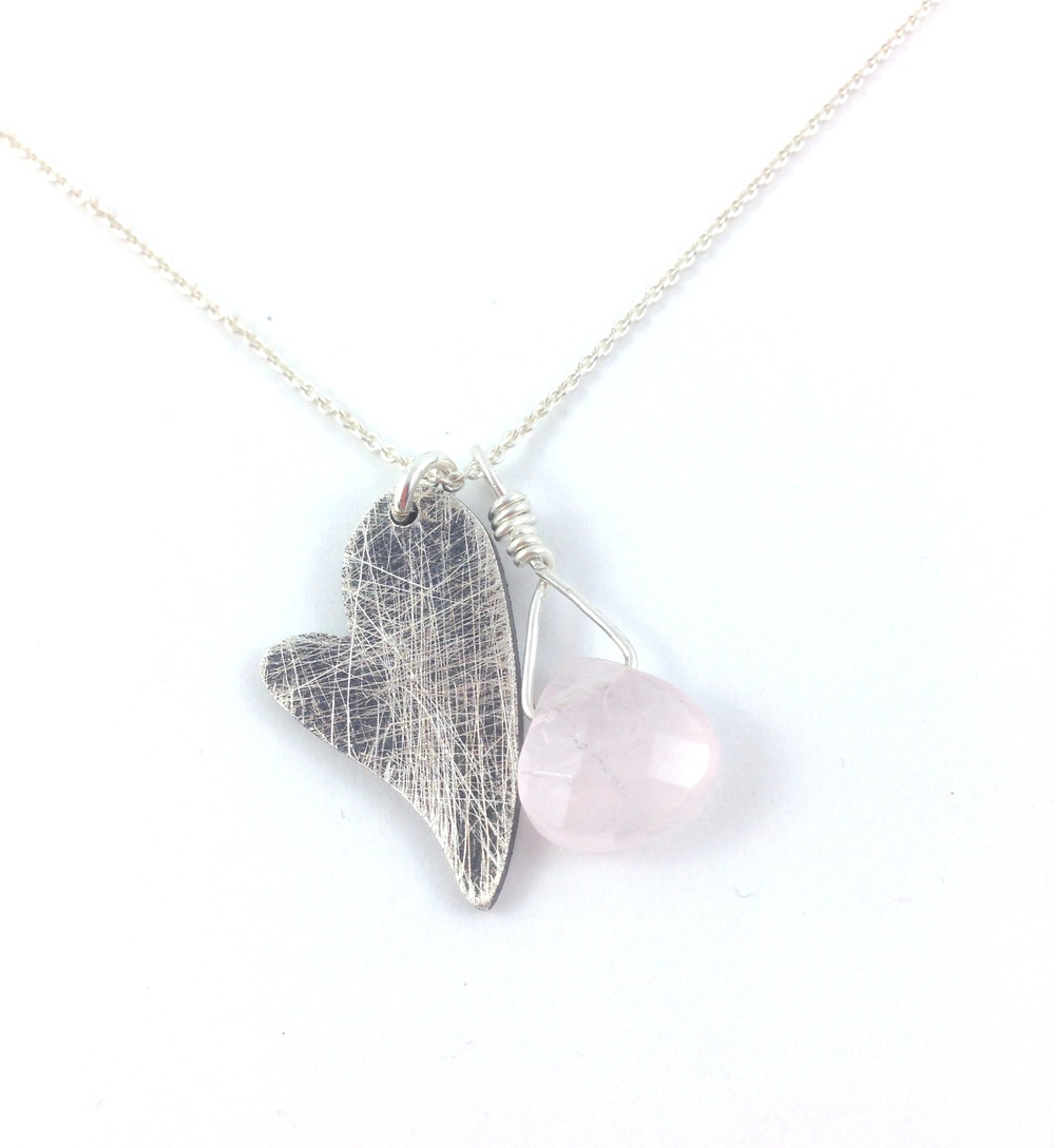 My Scratched Up Heart Necklace with Rose Quartz © Patsy Kay Kolesar Design