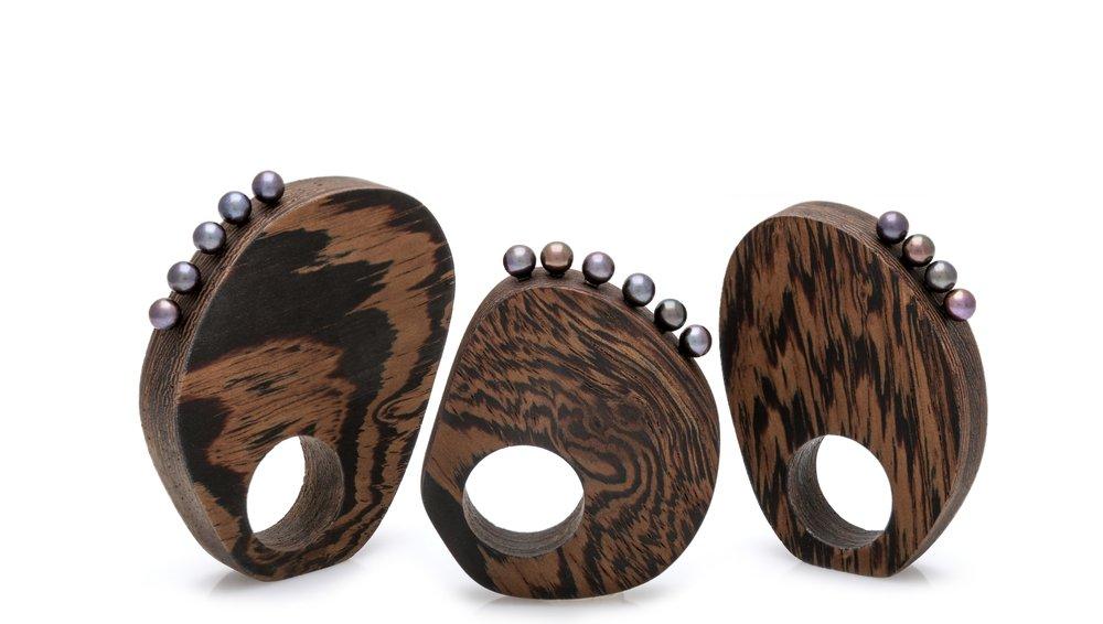 Fine Wooden Rings, 2015, wenge hardwood, freshwater pearls.© Patsy Kolesar