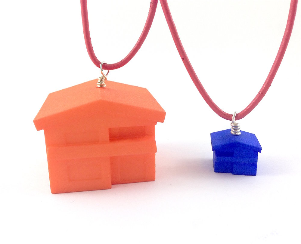 Vancouver Special House Necklaces - polished plastic.