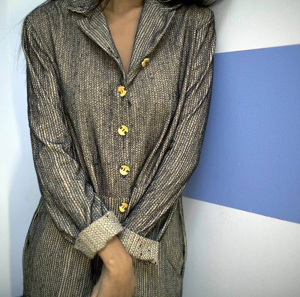 khajuri 'fishtail' stitch on khadi cotton jumpsuit with bakelite buttons // now on cistanthe.com