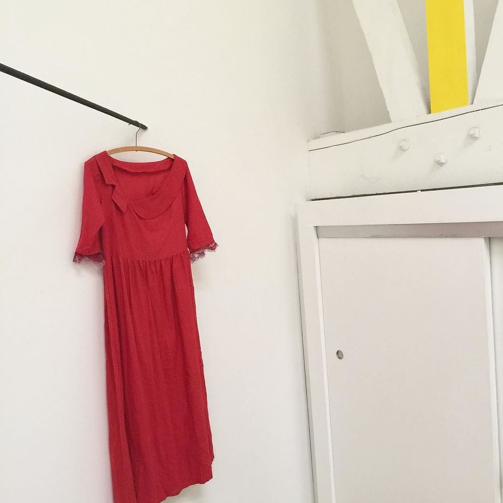 the red khadi cut out dress in the studio // hand dyed & hand spun in Gujarat