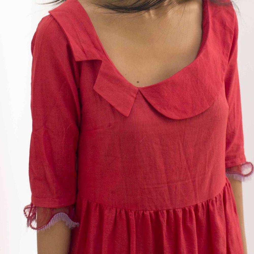 red khadi with silk chiffon ribbon #cochineal