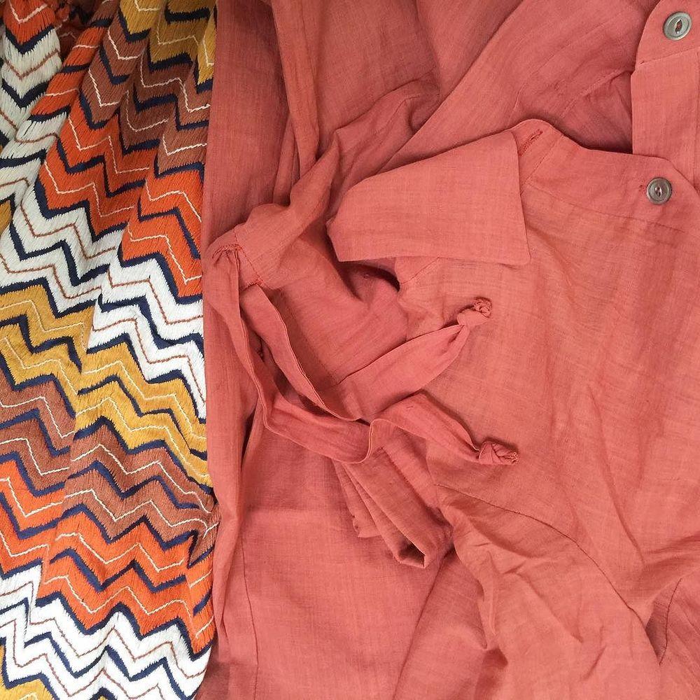 hand-embroidered sikal stitch zig zag + coral khadi cotton set #cistantheshop