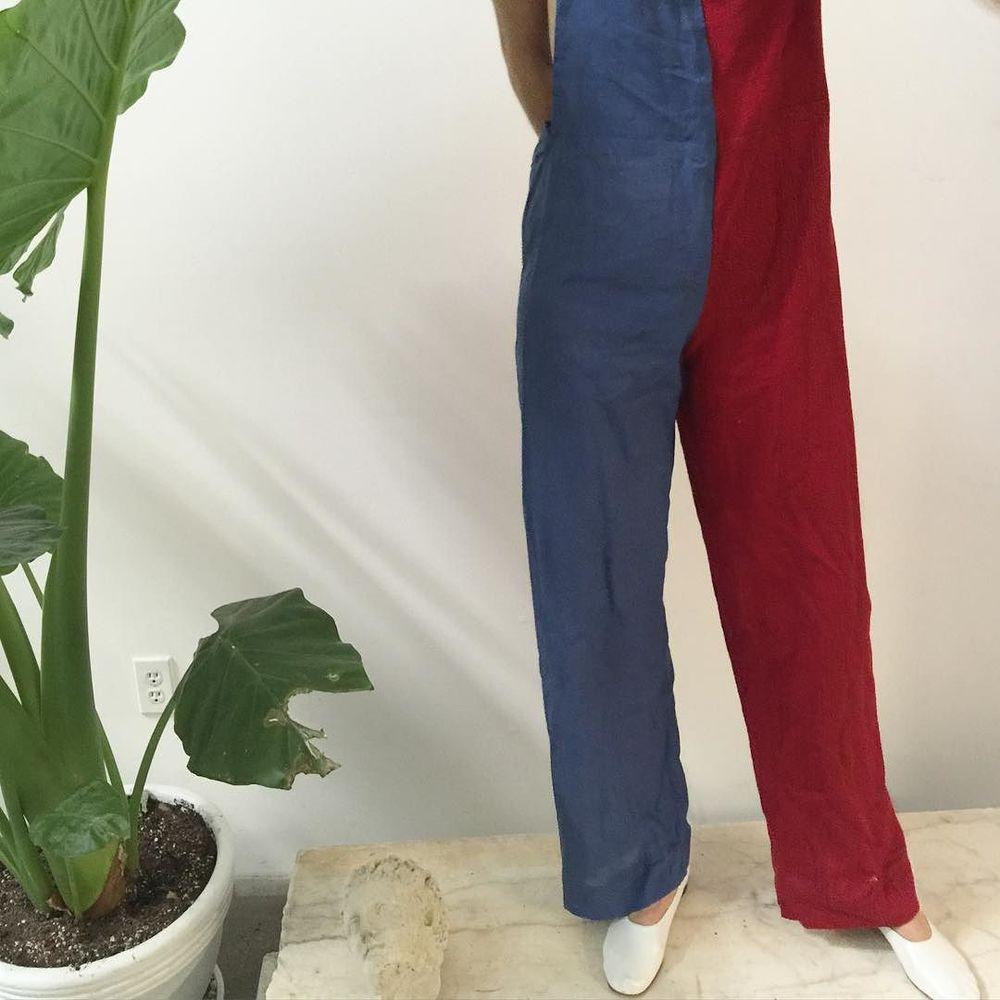 red hand-embroidered khajuri stitch + blue khadi overalls // Ahmedabad