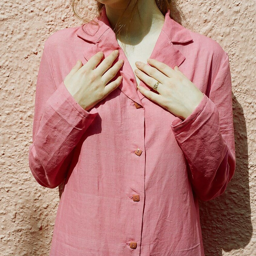 pink khadi cotton / hand-spun + hand-woven commodity cotton from Patan