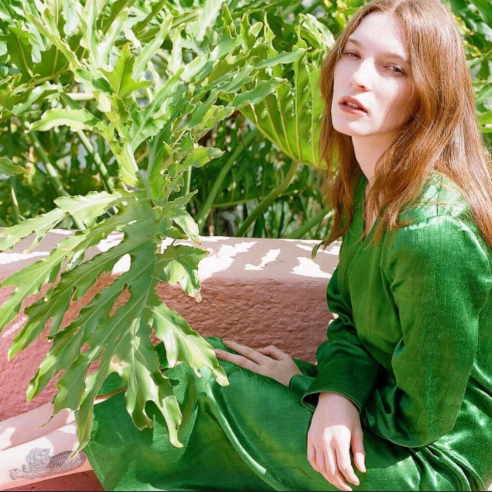 emerald silk mashroo smoking dress