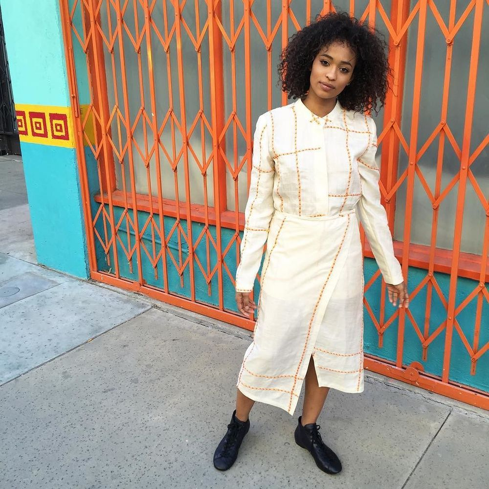 baby @kaylablackmon in hand-embroidered blouse + skirt