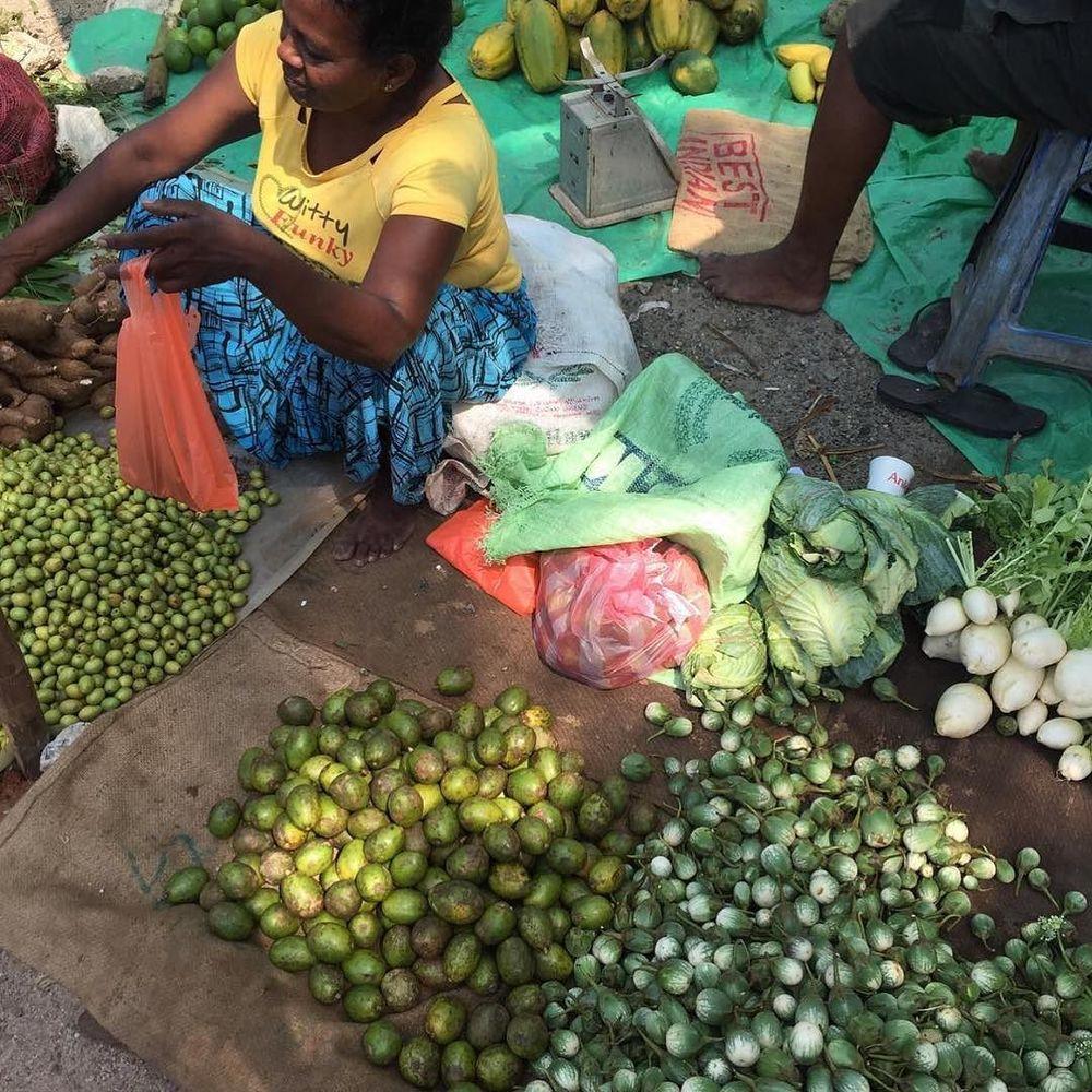 ambarella, brinjals, knol khol at wattala market, sri lanka
