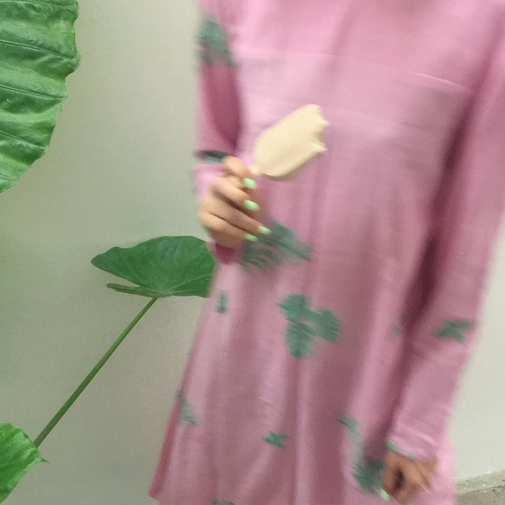 pink khadi with hand-embroidered leaves + birds , made by hand in Ahmedabad